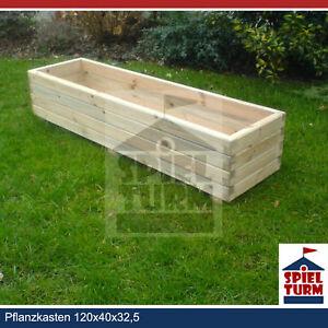 HOQ Pflanzkasten 120cm rechteckig Pflanztrog Pflanzkübel Pflanzenkasten aus Holz