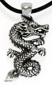 CHINESE-DRAGON-Silver-Pewter-Pendant-Leather-NECKLACE