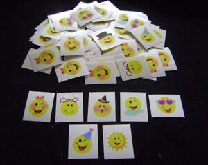 NEW-144-ASSORTED-SMILEY-FACE-TATTOOS-PARTY-BAG-FILLER