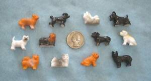 Set of 12 MINIATURE tiny plastic toy or craft Puppy DOGS ~ LOT