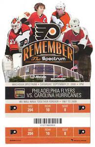 Philadelphia Flyers LAST GAME @ SPECTRUM 9/27/08 Ticket