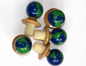 5 Korken 19 mm Kugel Holzgriff Korken Planet Erde Flaschenverschluß