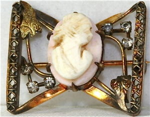 ANTIQUE-GOLD-FILLED-ANGEL-SKIN-CORAL-CAMEO-PIN