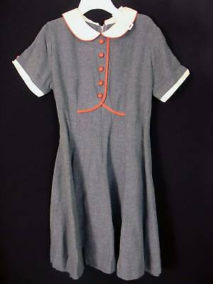 RARE-DEADSTOCK-1960S-GIRLS-GREY-RAYON-DRESS-SIZE-5-6