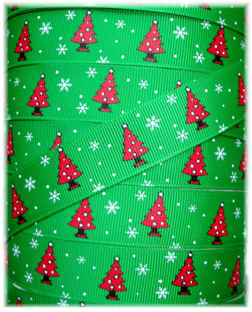 7/8 CHRISTMAS TREES GREEN RED GROSGRAIN RIBBON 4 HAIRBOW BOW