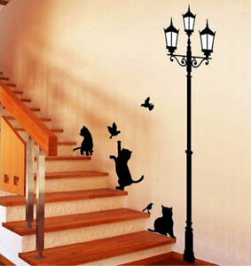 Large-Cat-Lamp-Post-Wall-Stickers-Art-Decal-Mural-Wallpaper-Decor-Home-DIY-Kids