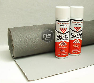 3m x 1.37m Headlining Kit Grey Brushed Nylon Foam Backed + 2 Hi Temp Spray Glue