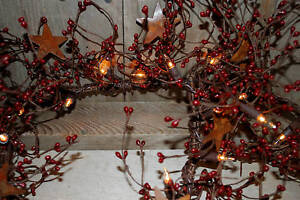 Lighted-40-BURGUNDY-Pip-Berry-Garland-Rusty-Tin-STARS