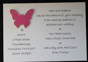 50 Handmade Butterfly Wedding Invitations Day Evening
