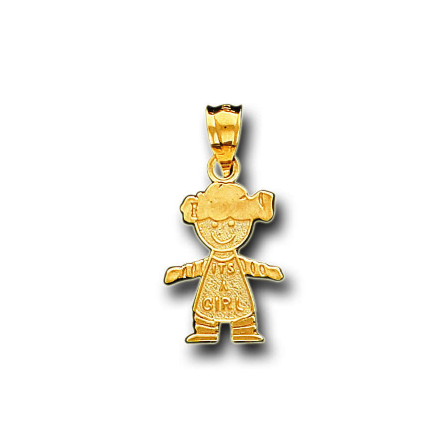 14k Solid Yellow Gold It's A Girl Charm Pendant