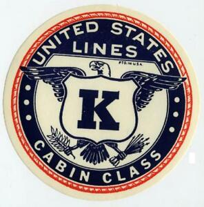 Cabin-Class-UNITED-STATES-LINE-Old-Steamship-Luggage-Label-c-1950