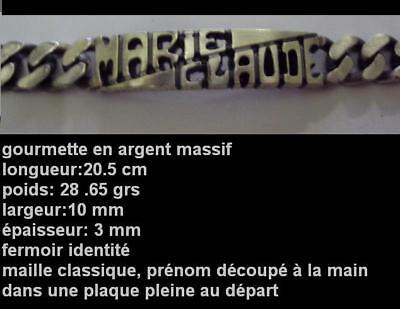 Gourmette Gilles En Argent Massif Gravée Dans La Masse