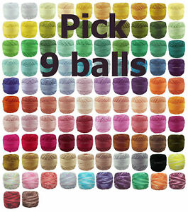 9-x-40m-RUBI-Perle-8-Crochet-Cotton-Embroidery-Thread-e-mail-me-Colour-Codes