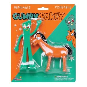 GUMBY & POKEY Bendable TV Cartoon Toy Figures Set 6