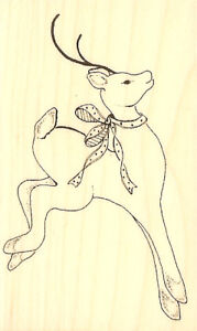 Christmas Reindeer Deer Wood Mounted Rubber Stamp Impression Obsession D6603 NEW