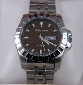 new in box rousseau mens stainless steel bracelet watch a image is loading new in box rousseau mens stainless steel bracelet