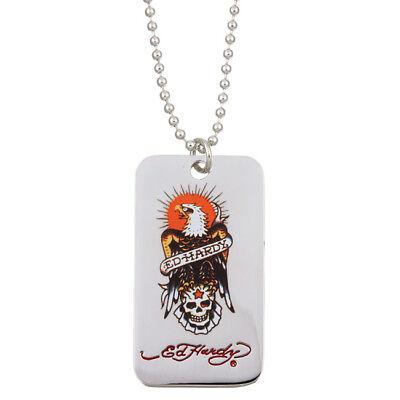 Ed Hardy Eagle Color Dogtag Pendant Necklace