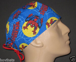 SPIDERMAN-IN-THE-WEB-SCRUB-HAT-RARE-FREE-USA-SHIPPING-CUSTOM-SIZING