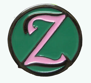Zenyatta Lapel Hat Pin Nickel pink & teal Horse racing