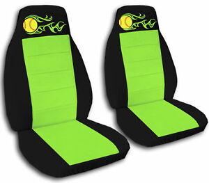 Cool Black Lime Green Car Seat Covers W Flame Softball