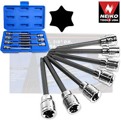 NEIKO TOOLS 7-pc EXTRA LONG TORX SOCKET BIT SET 3/8