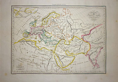 1833 Genuine Antique map Europe in the Middle Ages. Malte-Brun
