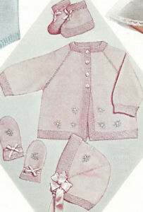 Knitting Pattern Baby Sweater Hat Bonnet Booties Set Ebay
