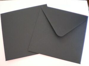 BLACK Envelopes 150mm Square x 50 DIY Invitation Postal Office Supplies