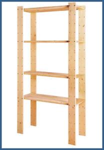 Pine Wood 4tier Shelf Storage Shelves Unit Home Kitchen