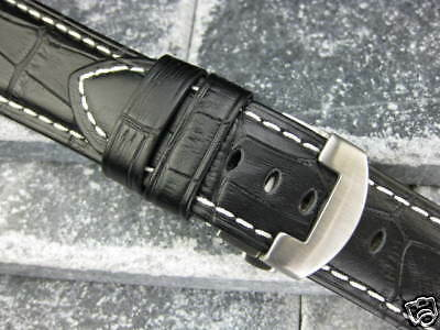 26mm Leather Strap Deployment Buckle Fit Panerai Black