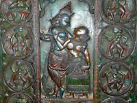 Hindu God Radha Krishna Antique Carved Doors