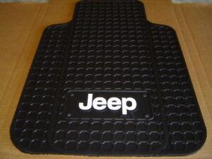 jeep logo front floor mats in black pair cj yj tj lj rubber floor mat. Black Bedroom Furniture Sets. Home Design Ideas