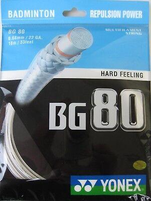 Genuine Yonex BG80 Badminton racket String BG 80 - 10m - White