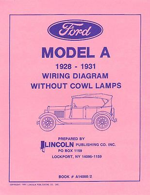 1928-31 Ford Model A Wiring Diagrams W/o Cowl Lamps