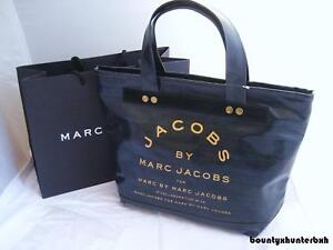 MARC JACOBS Indigo Zipper Denim Canvas Tote Bag Handbag