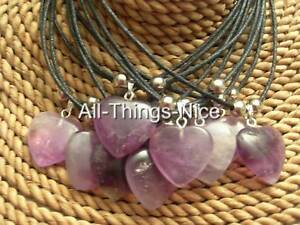 AMETHYST-Gemstone-20mm-HEART-Pendant-Necklace-Fashion-Jewellery-WHOLESALE-10