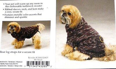 Zack & Zoey Dog Belted Turtleneck Sweater Brown Xxs