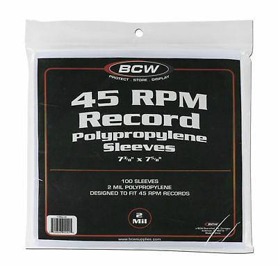 (100 Count Package) BCW 45 RPM Record Album Sleeves Clear Plastic Polypropylene