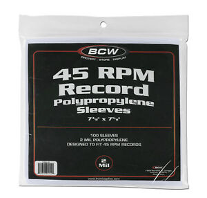 100 Count Package Bcw 45 Rpm Record Album Sleeves Clear