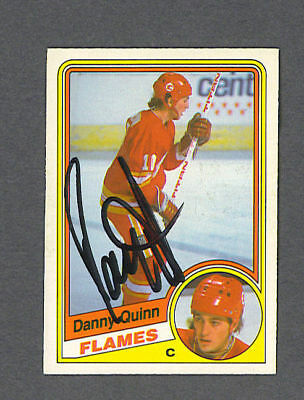 Dan Quinn Signed Flames 1984 85 Opc Rookie Hockey Card