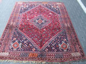Antique-shiraz-Rug-Carpet-Wool-Rare-Hand-Made