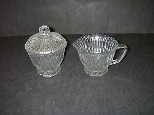 Libbey-Glass-CLASSIC-Sugar-w-Lid-cover-Creamer-Clear