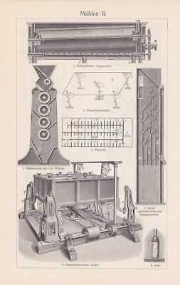 Mühle Wassermühle Aspirator Mehlzylinder HOLZSTICH von 1908