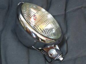 Bates style headlight complete vintage chrome bottom mount Halogen glass bulb