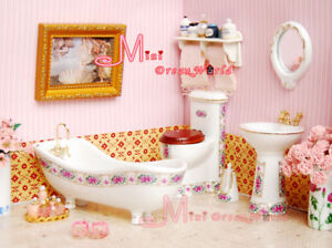 1/12 Dollhouse Miniature Rose Bathroom Toilet Set 5PCS
