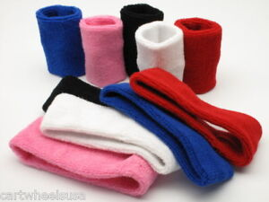 Sweatband-Set-1x-Headband-2x-Wristbands-Sports-Athletic