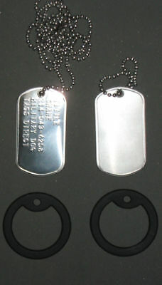 Real US Military Dog Tag Set (2) With Chain & Silencers
