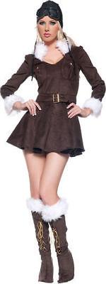 Aviator Pilot Damen Bomber Kleid Erwachsener Reiz Halloween Steampunk Kostüm