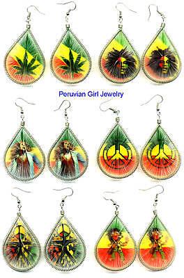 20 Earrings Rasta Jewelry 60's Hippie Wear Peruvian Lot