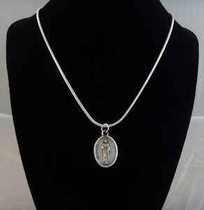 Catholic Saint St. Jude medal pendant silver plated necklace 18